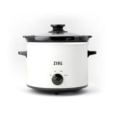 4 Qt. Round White Slow Cooker with Glass Lid