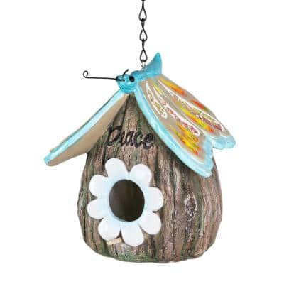 Butterfly Roof Peace Acorn Hanging Resin Birdhouse
