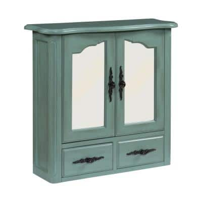 Provence 24 in. x 23 in. Framed Mirror Wall Cabinet in Vintage Turquoise