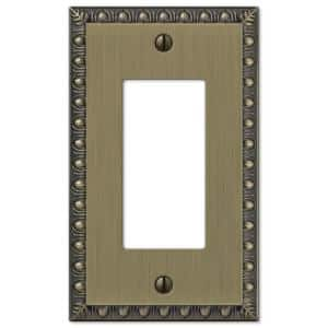 Antiquity 1 Gang Rocker Metal Wall Plate - Brushed Brass