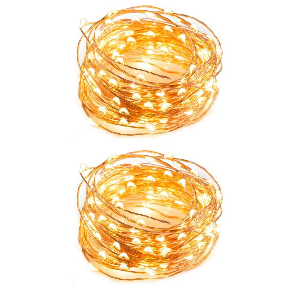 Newhouse Lighting Indoor 32 Ft Battery Powered Led String Lights With 100 Led Lights Fairy Lights Patio Lights 2 Pack Stringcopww32 2 The Home Depot