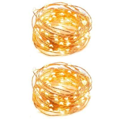 Indoor 32 ft. Battery-Powered LED String Lights with 100 LED Lights Fairy Lights, Patio Lights (2-Pack)