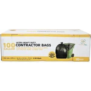 67 in. W x 79 in. H. 100 Gal. 3 mil Black Contractor Bags (10-Count)