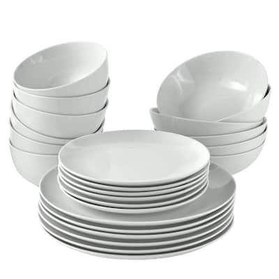 Organic White 24-Piece Casual Bone White Porcelain Dinnerware Set (Service for 6)