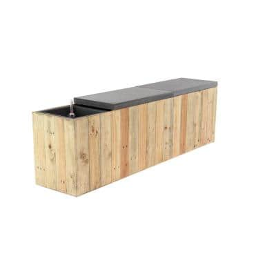 Light Brown Wood Plank-Style Planter Bench with Gray Accents
