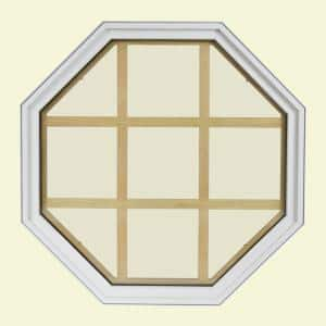 24 in. x 24 in. Octagon White 4-9/16 in. Jamb 9-Lite Grille Geometric Aluminum Clad Wood Window