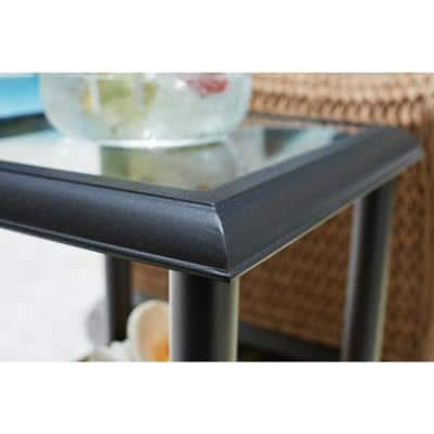 Camden Light Brown Wicker Outdoor Patio Side Table