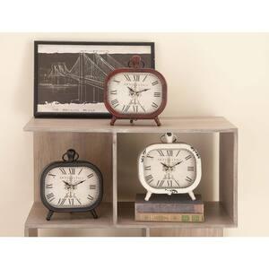 Multi Colored Metal Vintage Analog Tabletop Clock (Set of 3)