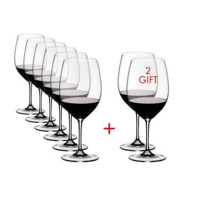 Vinum 21.52 fl. oz. Pay 6-Get 8-Cabernet/Merlot Red Wine Glasses (Set of 8)