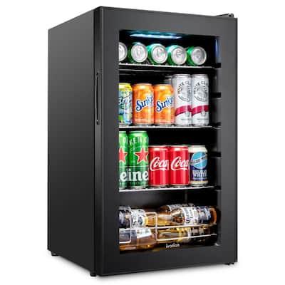 17 in. 101 Can Freestanding Beverage Cooler Refrigerator with Adjustable Shelves - Black