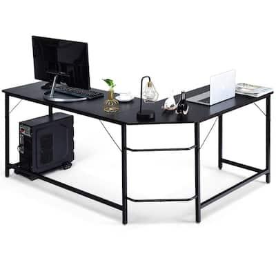 L-Shaped 66 in. Black Computer Desk Corner Workstation Study Gaming Table Home Office