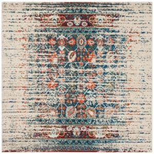 Monaco Ivory/Blue 6 ft. 7 in. x 6 ft. 7 in. Square Area Rug