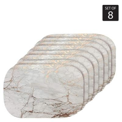 "Marble Cork 12"" x 18"" In. Yellows and Golds Cork Oval Placemats Set of 8"