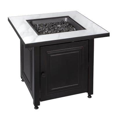 30 in. x 25 in. Square Bristol LP Outdoor Gas Fire Pit