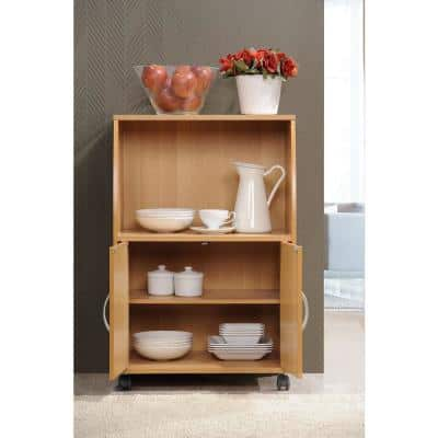 Beech Microwave Cart with Storage