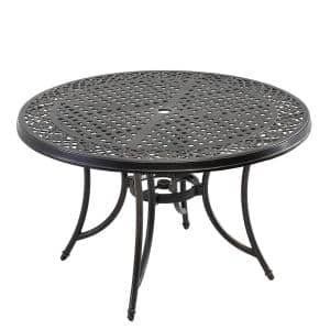 Black Gold Round Cast Aluminum Outdoor Dining Classic Pattern Table with Umbrella Hole