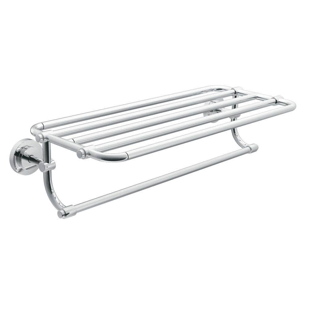 Moen Iso 10 7 10 In L X 6 9 25 In H X 26 19 20 In W Zinc Hotel Style Bathroom Shelf In Chrome Dn0794ch The Home Depot