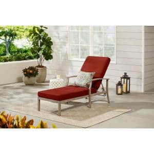 Beachside Rope Look Wicker Outdoor Patio Chaise Lounge with Sunbrella Henna Red Cushions