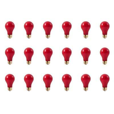 40-Watt A19 Ceramic Red Dimmable Incandescent Light Bulb (18-Pack)
