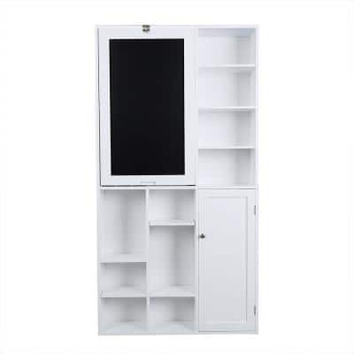 31 in. Rectangular White Floating Desk with Built-In Storage