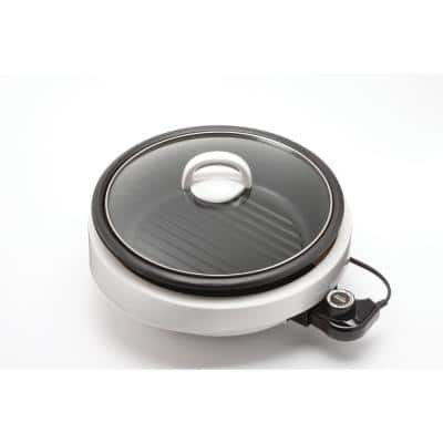 AROMA Super Pot 3-in-1 10 in. White Indoor Grill with Lid