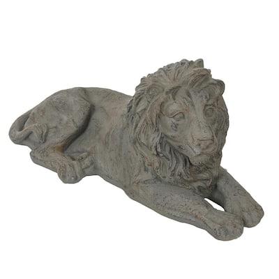 Gray MgO Resting Lion Garden Statue