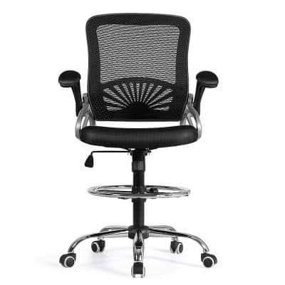 Black Mid Back Office Chair Mesh Executive Chair with Adjustable Height&Flip-Up Arm