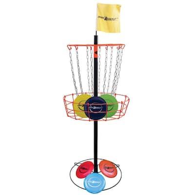 Outdoor Disc Golf Steel Target Basket with 6 Throwing Discs