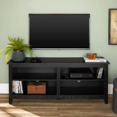 Columbus 58 in. Black MDF TV Stand 60 in. with Adjustable Shelves