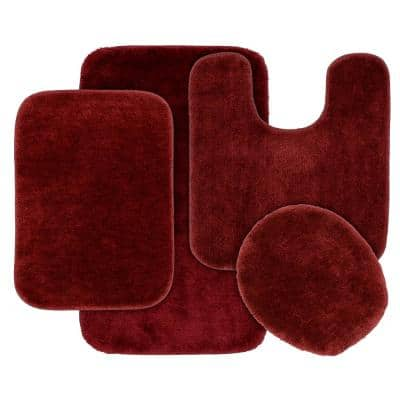 Traditional Chili Pepper Red 4-Piece Washable Bathroom Rug Set