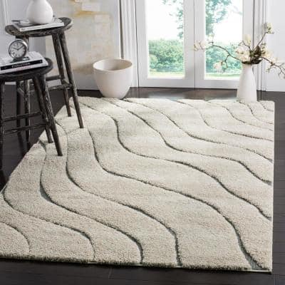 Florida Shag Cream/Gray 8 ft. x 10 ft. Striped Solid Area Rug