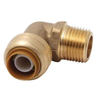 1/2 in. Push-to-Connect x MIP Brass 90-Degree Elbow Fitting