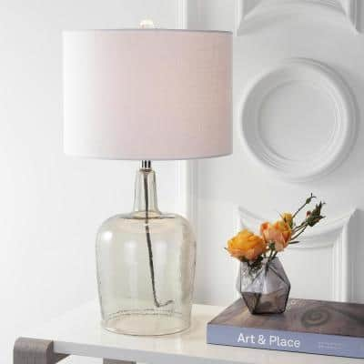 Augustine 26 in. Smoked Gray Glass Table Lamp