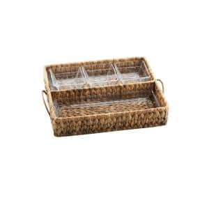 Garden Terrace Dbl.Tray Server. Glass Tray 12.25''L, 5''W, 1''H, 3-Glass Bowls 3.75''sq.Water Hyacinth Holder, Gift Box