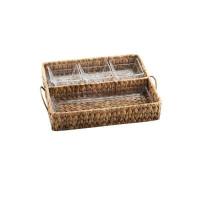 "Garden Terrace Dbl.Tray Server. Glass Tray 12.25""L, 5""W, 1""H, 3-Glass Bowls 3.75""sq.Water Hyacinth Holder, Gift Box"