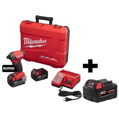 M18 FUEL Surge 18-Volt Lithium-Ion Brushless Cordless 1/4 in. Hex Hydraulic Impact Driver Kit W/ M18 5.0AH Battery
