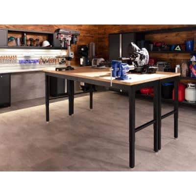 Pro Series 84 in. White Workbench with Stainless Steel Worktop
