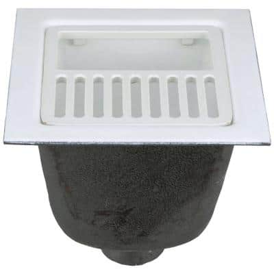 12 in. x 12 in. Acid Resisting Enamel Coated Floor Sink with 3 in. No-Hub Connection and 8 in. Sump Depth