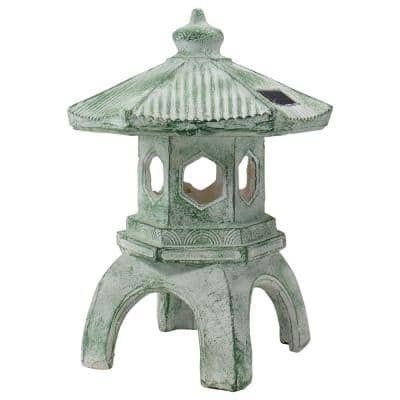 15.75 in. LED Lighted White and Green Outdoor Solar Powered Pagoda Sculpture