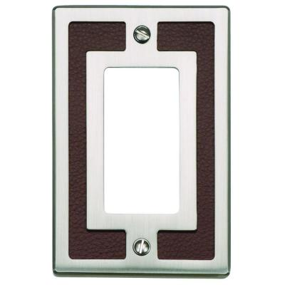 Zanzibar Collection 1 Rocker Switch Wall Plate - Brown Leather and Brushed Nickel