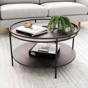 Paloma 32 in. Dark Oak/Black Medium Round Wood Coffee Table with Tray