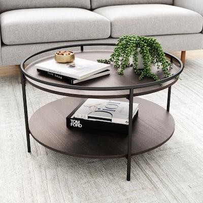 Paloma 32 in. Dark Oak/Black Medium Round Wood Coffee Table with Tray