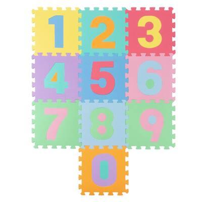 Multi-Colored 12.5 in. x 12.5 in. Interlocking EVA Foam Numbered Puzzle Mat Set (10-Pack)