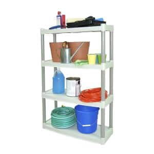 Taupe and Tan 4-Tier Plastic Garage Storage Shelving Unit (32 in. W x 48 in. H x 13 in. D)