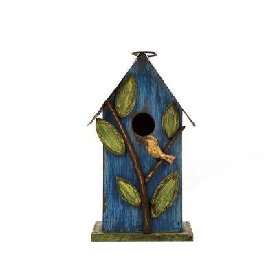9.75 in. H Distressed Solid Wood Birdhouse with Leaves
