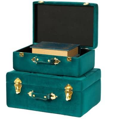 Decorative Green Tufted Velvet Suitcase Treasure Chest (Set of 2)