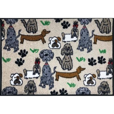 Whimsy Poochies 20 in. x 30 in. Nylon Doormat