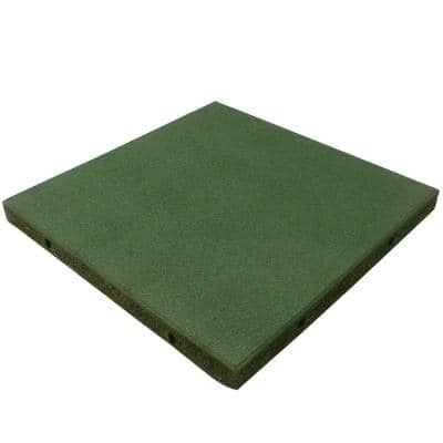 Eco-Safety 2.5 in. T x 1.66 ft. W x 1.66 ft. L Green Rubber Interlocking Playground Flooring Tiles (11 sq. ft.) (4-Pack)