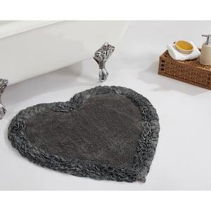 Shaggy Border Collection Grey 30'' Heart 100% Cotton Bath Rug