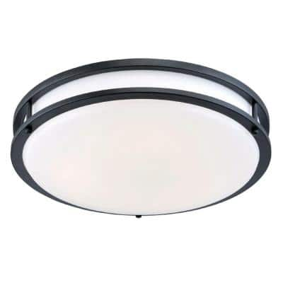 14 in. Bronze Integrated Selectable LED CCT Round Flush Mount Light